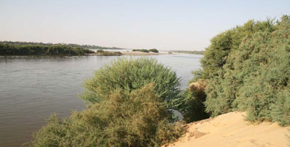 The steep river bank at Amara West, overlooking the Nile.