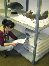 Conservator Alexandra Baldwin at the British Museum store