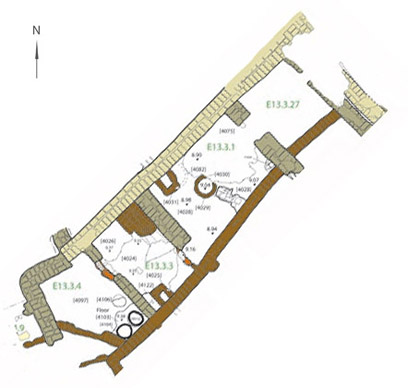 Plan of house E13.3-N, with room 27 to top right