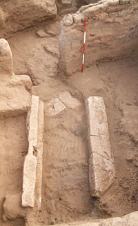 Collapsed doorway from an earlier house, found beneath later architecture of house E13.3-N