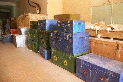 Crates of archaeological samples in the Sudan National Museum, awaiting export