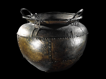 The Battersea cauldron, an example of an Iron Age cauldron on display in the British Museum