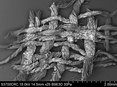 SEM image of a fragment of the Norwich shroud. © Norwich Castle Museum and Art Gallery / Trustees of the British Museum