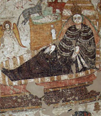 The Virgin Mary on a bed. Painted scene from Faras, Sudan National Museum