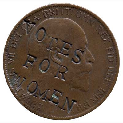 Penny defaced by suffragettes, AD 1903. Crown copyright