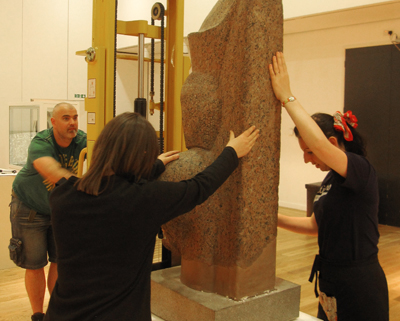 Installing Ramesses the great in the gallery