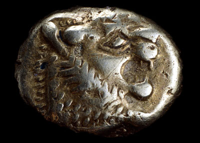 One of the very earliest coins, from Lydia (western modern Turkey), about 650-600 BC.