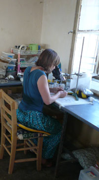 Rachel Swift at work in the conservation area