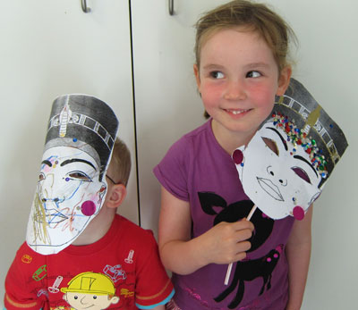 Two participants at a mask-making workshop. Photo: Great North Museum: Hancock