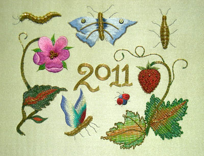 'c17th Summer Sampler', silk and gold thread (2011)