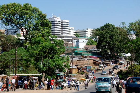 The city of Blantyre, Malawi