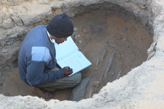 Mohammed recording the location of the skeletons
