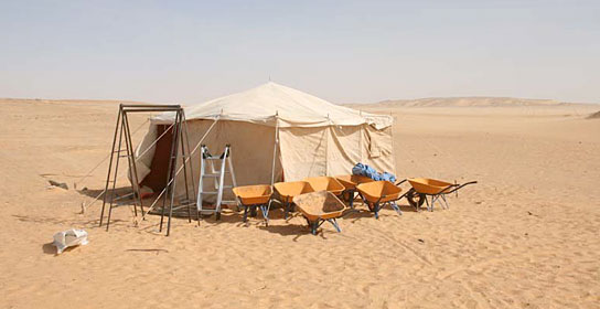 Site tent and wheelbarrows at Amara West