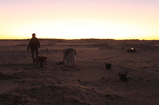 Early morning, first day of excavating in cemetery D