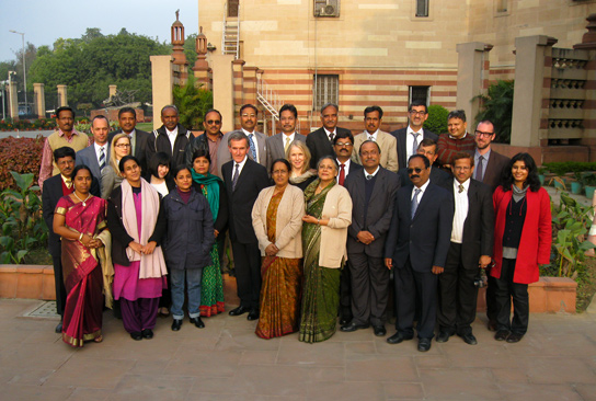 Programme delegates with Neil MacGregor and Shobita Punja and staff from the British Museum and NCF