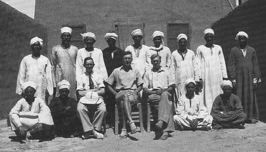 The EES team, with workmen, at Amara West in 1938-9. Seated left of centre is I.E.S. Edwards, then working as Assistant Keeper in the British Museum Department of Egyptian and Assyrian Antiquities.
