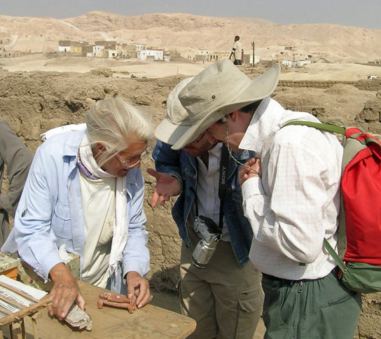 With Mme Nelson examining new finds from her excavations at the site of the Ramesseum in 2006