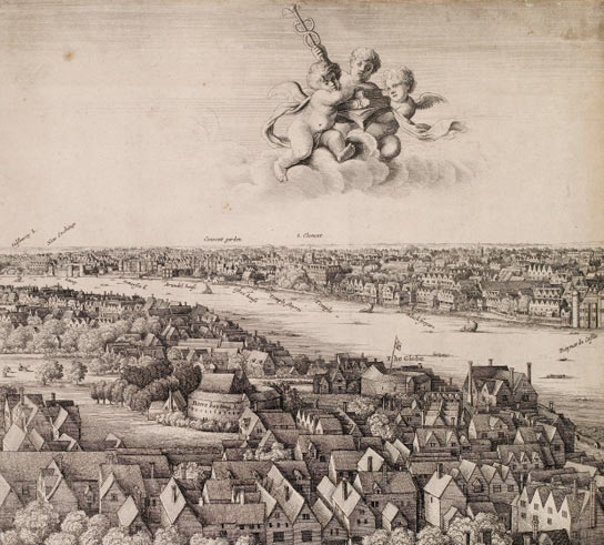 Detail of London ('The Long View'), Wencelaus Hollar, 1647, showing the Globe Theatre.