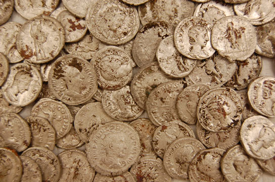 Some of the coins after being cleaned