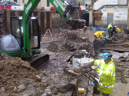 The excavation of the Beau Street Hoard. © Cotswold Archaeology