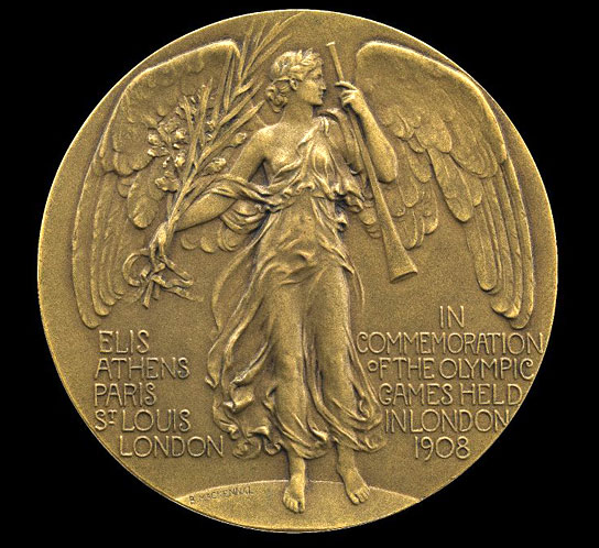 Commemorative medal of the 1908 London Olympics.