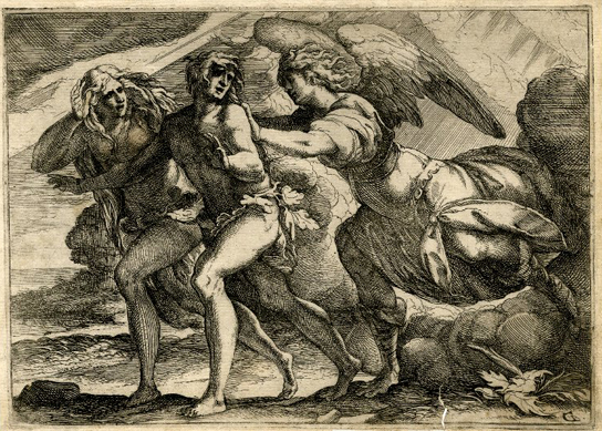 The Expulsion from Paradise, Giulio Benso, 1610-1670.