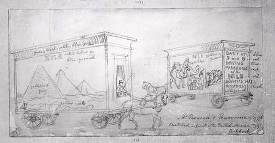 A horse-drawn van advertising Joseph Bonomi's 'Panorama of Egypt' exhibited in London in 1849