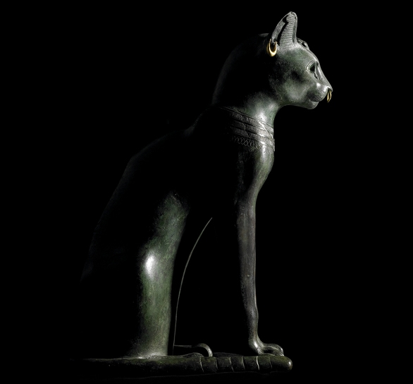 Bronze figure of a seated cat, from Saqqara, Egypt Late Period, after 600 BC