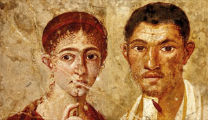 Portrait of baker Terentius Neo and his wife. Pompeii, AD 55–79. © DeAgostini/SuperStock