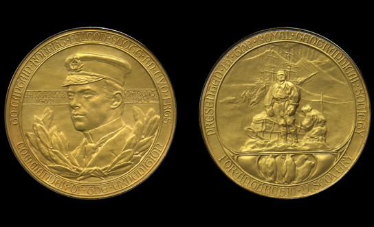 Gold Royal Geographical Society medal, awarded to Scott in 1904