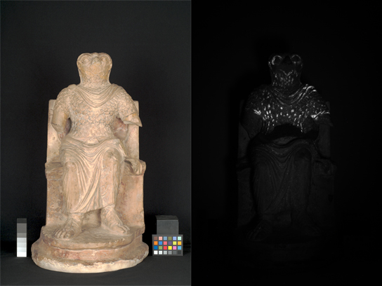 (left) Visible-reflected image and (right) visible-induced luminescence image in the infrared range (800–1000 nm) of the front of Horus. Bright white areas correspond to the presence of Egyptian blue.