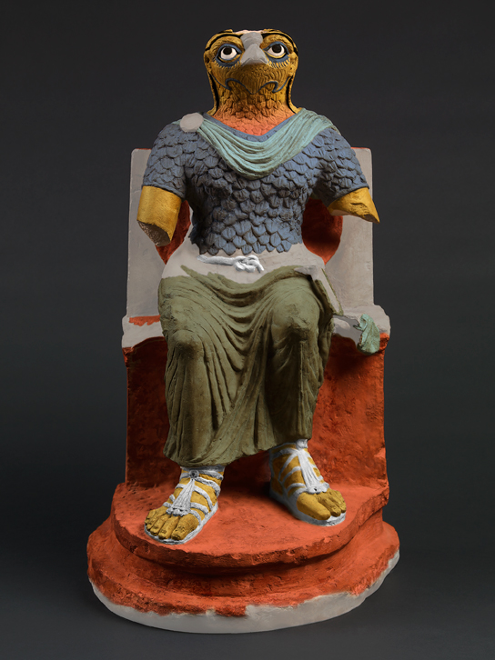 A computer enhanced version of Horus re-coloured to suggest its original appearance. Colour has only been applied to those areas where analysis and imaging provided strong evidence for pigments. Areas which have been restored or where there was no analytical evidence for colour are shown as grey.