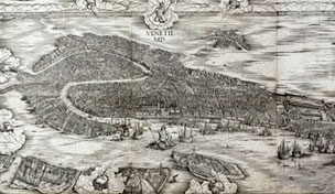 Jacopo de' Barbari, Bird's eye view of Venice, a woodcut. Italy, 1500.