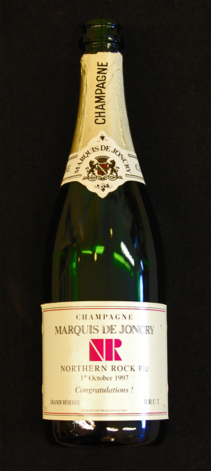 Champagne bottle given to a Northern Rock employee in 1997.