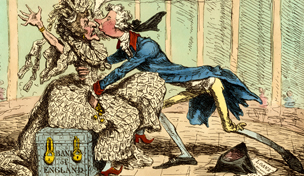 Political-ravishment, or the old lady of Threadneedle-Street in danger!, print, James Gillray, 1797