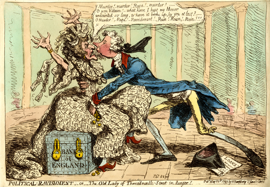 Political-ravishment, or the old lady of Threadneedle-Street in danger!, print, James Gillray, 1797.