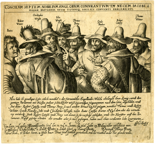 Group portrait of the eight Gunpowder plotters, all named, with title and text beneath. Etching, about 1606.