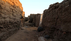 Looking down a 3,000 year-old alley at Amara West (2012)