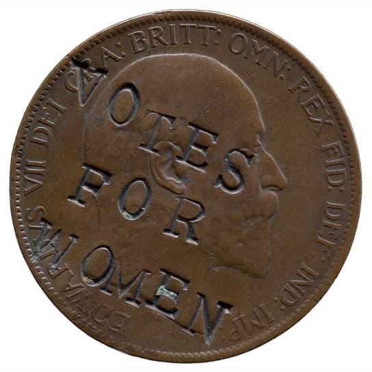 Suffragette-defaced penny. Crown copyright