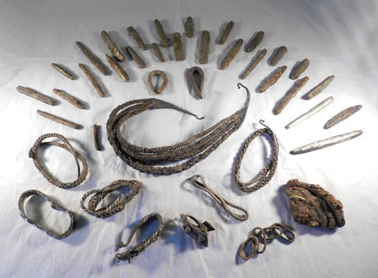 An important hoard of Viking Age gold and silver metalwork found in the Bedale area, North Yorkshire. Courtesy of the Portable Antiquities Scheme.