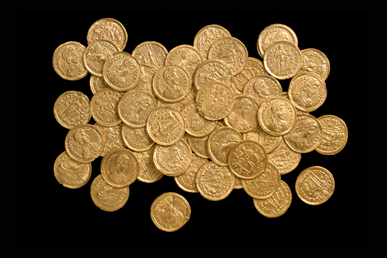 The second largest hoard of Roman solidi (gold coins) ever found in Britain. Courtesy of the Portable Antiquities Scheme.