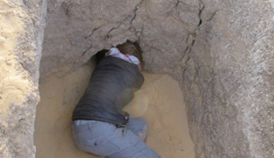 The 'Howard Carter moment'. Physical anthropologist, Michaela Binder gets a first peak into the  chamber(s) of Grave 244