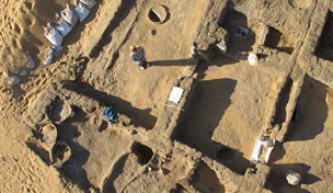 Aerial photograph of a house undergoing excavation