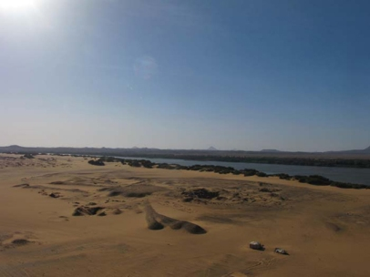 The town site beside the Nile, with our tents in foreground