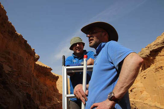 Mark and Jamie pondering ancient Nile histories, in a deep trench