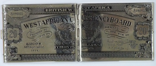 A cigarette case with the image of a 1934 twenty shilling note issued by the West African Currency Board found at the National Archives (UK).