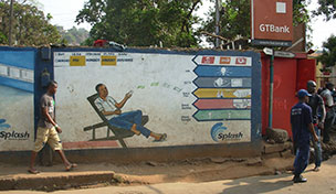 Mobile money advert in Sierra Leone