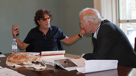 Chef, Giorgio Locatelli and broadcaster Peter Snow making plans for the event