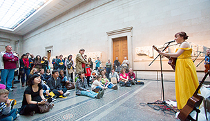A recent musical performance by Anna Neale, as part of the 'Up Late in Pompeii' event. Image: Benedict Johnson