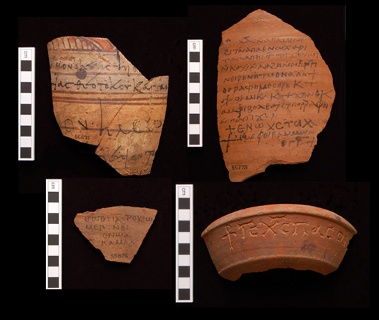 A selection of texts from Wadi Sarga (clockwise from top left): EA 56631 (fragment of a liturgy); EA 55778 (an order to pay wine to a nun called Irene); EA 69889 (a broken inscribed bowl, preserving 'Jesus Christ, Brother …'); EA 55876 (a wine receipt, dated 8 September)
